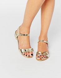 Miss Kg Ruby Bow Flat Sandals Gold Synthetic
