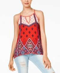 Jolt Juniors' Handkerchief Hem Keyhole Tank Top Deep Red