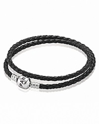 Pandora Design Pandora Bracelet Black Leather Double Wrap With Sterling Silver Clasp Moments Collection Black Silver