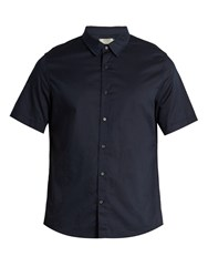 Vince French Placket Cotton Voile Shirt Navy