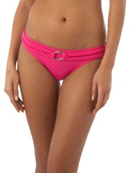 Linea Twist Of Fate Rope Belted Hipster Pant Fuchsia