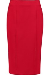Amanda Wakeley Stretch Crepe Pencil Skirt Red