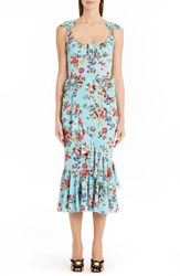 Dolce And Gabbana Women's Floral Stretch Silk Flounce Hem Dress