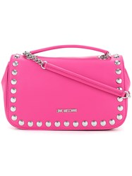 Love Moschino Studded Shoulder Bag Women Polyurethane One Size Pink Purple