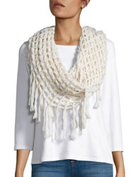 Steve Madden Metallic Infused Open Knit Fringed Infinity Scarf Ivory