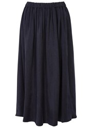 American Vintage Meadow Navy Brushed Twill Midi Skirt