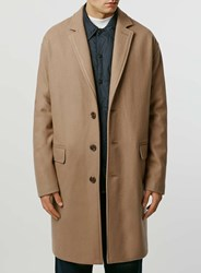 Topman Limited Edition Camel Wool Rich With Cashmere Duster Coat Brown