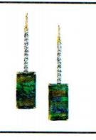 Irene Neuwirth One Of A Kind 18K Yellow And White Gold Earrings Set With Boulder Opals 39.49Cts And Full Cut Diamonds 1.6Cts On Diamond Pave Hooks 0.03Cts Green