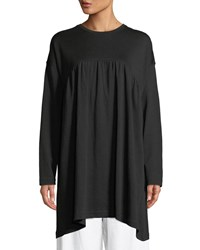 Eskandar Round Neck Long Sleeve Shirred Front Pima Cotton Top Black