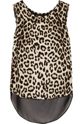Rag And Bone Fleet Layered Leopard Print Silk Crepe De Chine Tank Animal Print