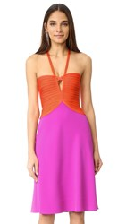 Herve Leger Emmaline Knee Length Dress Coral Red Combo