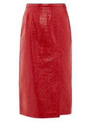 N 21 No. Textured Faux Leather Skirt Red