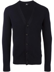Paul Smith Ps By Ribbed Trim Button Up Cardigan Blue