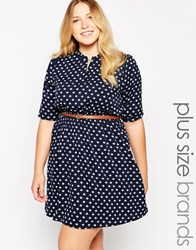 Yumi Plus Size Belted Dress In Polka Dot Print Navy