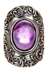 Sterling Silver Lace Design Amethyst Ring Purple