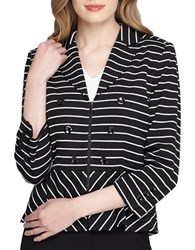 Tahari By Arthur S. Levine Three Quarter Sleeve Peplum Jacket Black White
