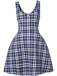 Natasha Zinko Plaid Dress Women Cotton Polyester 40 Blue