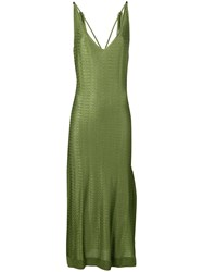 Esteban Cortazar Silky Knit Tie Shoulder Dress Green