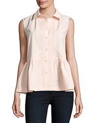 French Connection Cotton Peplum Top Summer White
