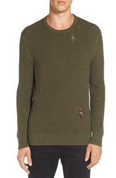 Zanerobe Men's Shredded Waffle Knit Sweater Olive Marle