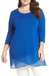 Vince Camuto Plus Size Women's Asymmetrical Chiffon Hem Top