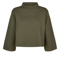 Jaeger Jersey Rib Funnel Neck Top Green