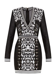 Balmain Monochrome V Neck Knitted Dress Black White