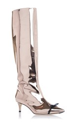 Marco De Vincenzo Pink Gold Metallic Kitten Heel Boot