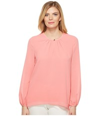 Ellen Tracy Shirred Neck Blouse Blossom Pink Women's Blouse