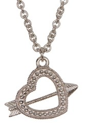 Judith Ripka Sterling Silver Arrow Heart Charm Necklace Beige