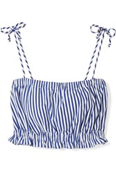 Mds Stripes Taylor Cropped Striped Cotton Jersey Top Cobalt Blue