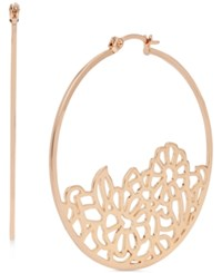 Touch Of Silver Filigree Hoop Earrings Rose Gold