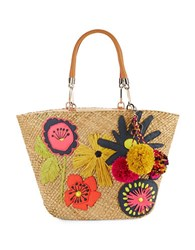 Trina Turk Embellished Woven Tote Natural