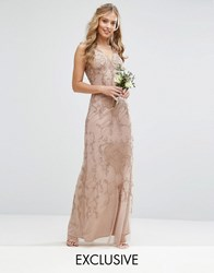 Maya Embroided Maxi Dress With Beading And V Plunge Brown