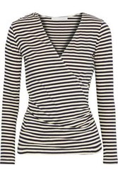 Kain Label Wrap Effect Striped Stretch Knit Top Navy