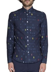 Kenzo Multi Color Graphic Print Shirt Midnight Blue