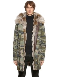 Mrandmrs Italy Coyote Fur Camouflage Canvas Parka