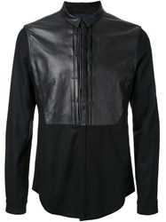 Juun.J Leather Detail Shirt Black