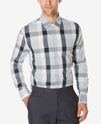 Perry Ellis Men's Large Plaid Long Sleeve Shirt Bright White