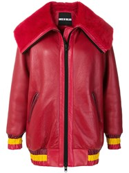 House Of Holland Shearling Varsity Jacket Red