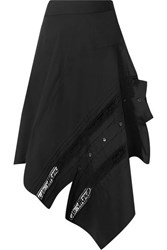 Monse Asymmetric Lace Trimmed Cotton Blend Poplin Skirt Black