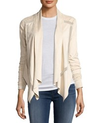 P. Luca Perforated Faux Suede Open Front Jacket Cream