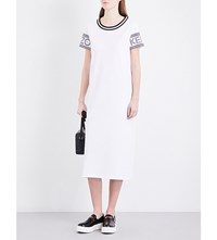 Kenzo Logo Print Cotton Jersey T Shirt Dress White