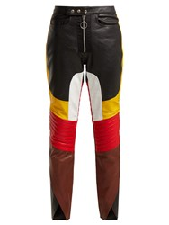 Marques Almeida Panelled Leather Biker Trousers Black Multi