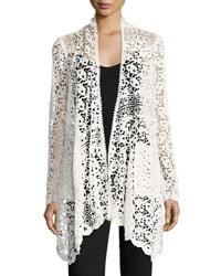 Neiman Marcus Cascade Front Lace Cardigan Ivory