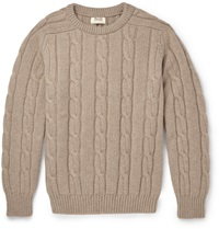 William Lockie Cable Knit Cashmere Sweater Brown