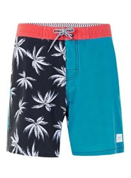 Globe Red Blue And Black Spliced Palms Shorts