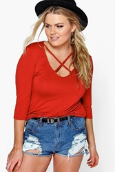 Boohoo Kaylee Plunge Neck Strappy 3 4 Sleeve T Shirt Spice