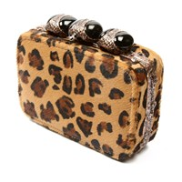 Clara Kasavina Antonella Box Clutch Copper Jet Black Onyx Leopard Pony Hair