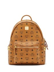Mcm Stark Studded Coated Canvas Backpack Cognac Black